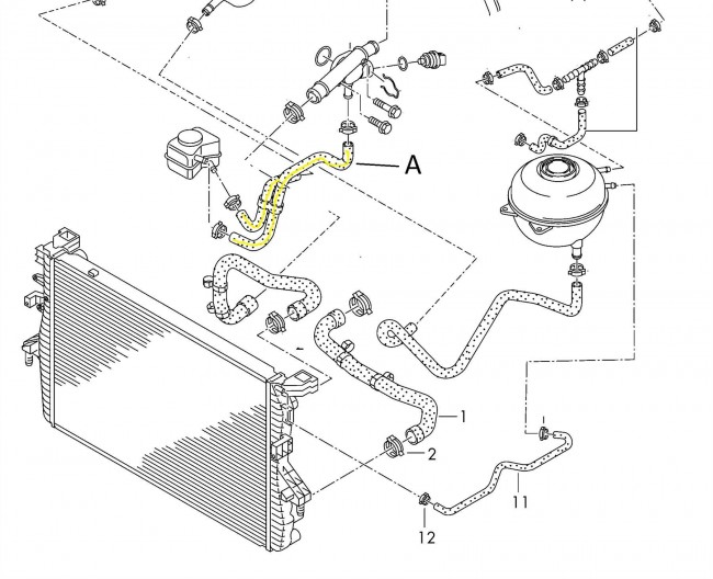 7H0121086A RADIATOR COOLING HOSE PIPE