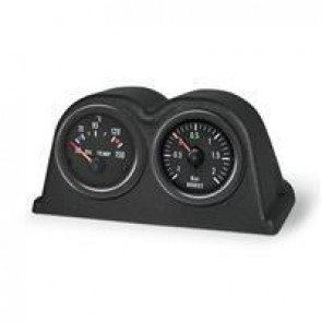 2 Gauge mounting pod, dash top, double, black