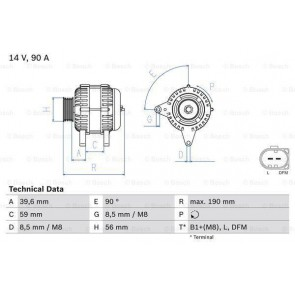 Alternator, 90 Amp, with freewheel pulley INCLUDES 45 + VAT REFUNDABLE SURCHARGE  BOSCH 8511500090 5617 038903023L 038903018P 038903018PX 038903023L 038903023R 038903024D 1100711   8EL737644001  0986041490