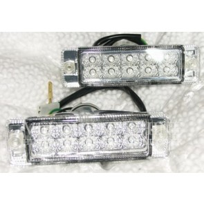 PAIR FRONT CRYSTAL CLEAR LED INDICATORS FOR SMALL BUMPER MODELS