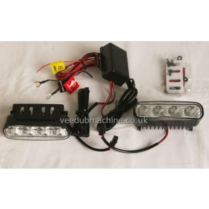LED DRL LIGHTS 3.6cm by 12cm with fit kit and instructions