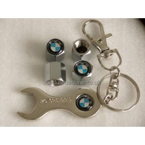 TYRE VALVE CAPS STAINLESS inc SPANNER KEY RING BMW