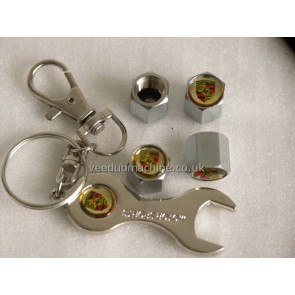 TYRE VALVE CAPS STAINLESS inc SPANNER KEY RING AUDI